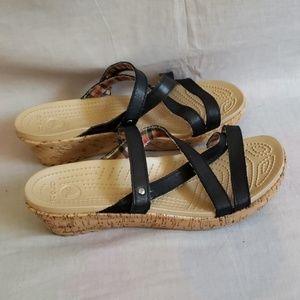 Crocs Sandals Black Size 10 W Leather Slides